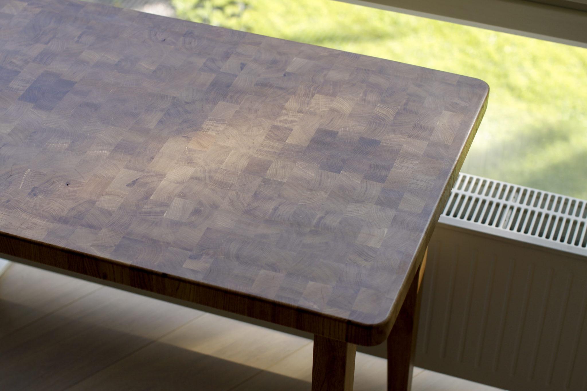 End-grain table top