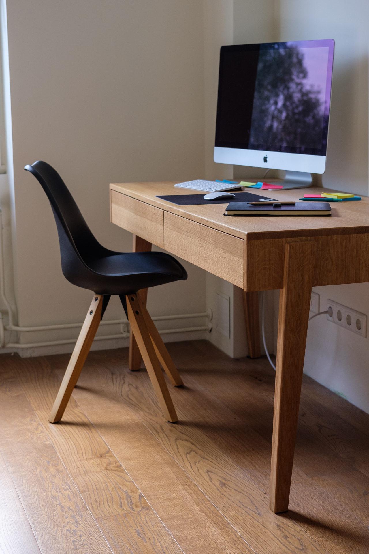 Oak desk – closer view of desk drawer